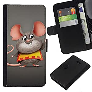 NEECELL GIFT forCITY // Billetera de cuero Caso Cubierta de protección Carcasa / Leather Wallet Case for Sony Xperia M2 // Ratón feliz grasa