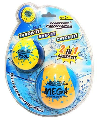 Wave Runner Skipping Speed Duo Set Water Skipping Bouncing Balls Mega Ball & Pool Ball Toys Ages 6+