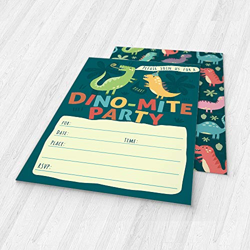 Dinosaur Kids Party Invitation Cards - Lots of Fun with a Pun! 25 High Quality Invites with Envelopes for T-Rex Kids Party, Jurassic Birthday or a Dino Themed Baby Shower. by PartyGraphix (Image #5)