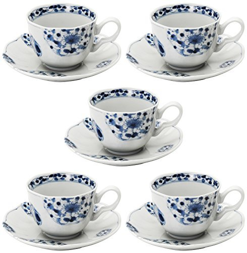 Mino Craft coffee bowl dish 5 customer set flower Imari Cup & (Imari Coffee Saucer)