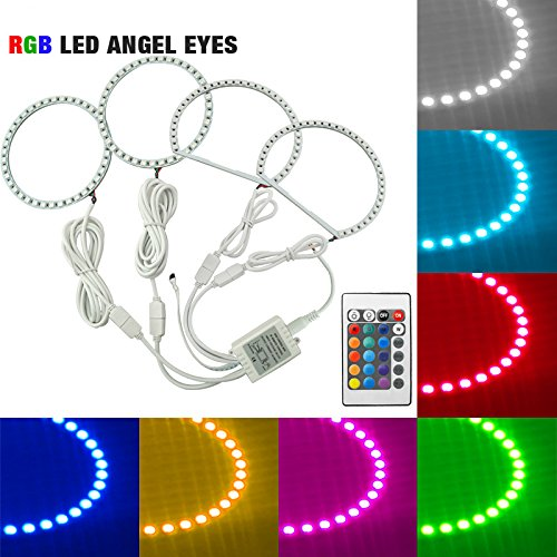 FEELDO Car RGB Multi-Color LED Angel Eyes Halo Ring Light Kit Wireless Remote Control for Mitsubishi Lancer (08-10) Non Projector