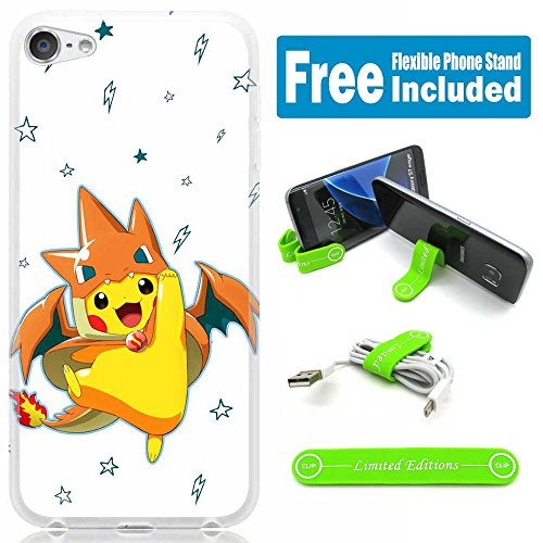 [Ashely Cases] Apple iPod Touch 5th/6th Generation Cover Case Skin with Flexible Phone Stand - Pokemon Pikachu Dragonsuit Photo - Pokemon Gaming