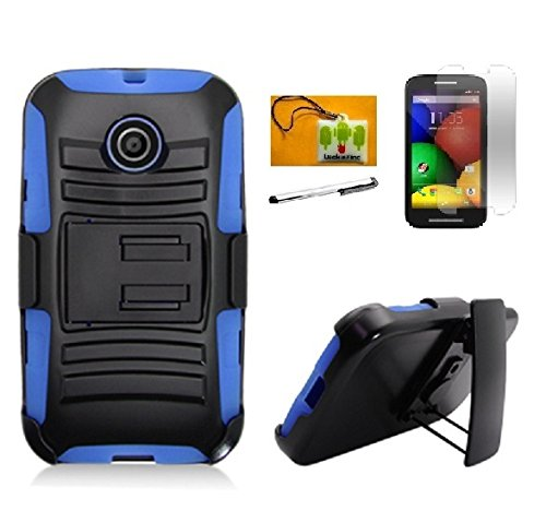LF 4 in 1 Bundle - Black Hybridy Dual Layer Holster with Kickstand & Locking Belt Swivel Clip , Stylus Pen, Screen Protector & Wiper For Motorola Moto E (XT1021 / XT1022 / XT1025) (Holster Blue / Black)