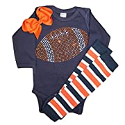 Baby Girl's Orange & Navy Team Colored Rhinestone Navy Football Orange Outfit 0-3mo