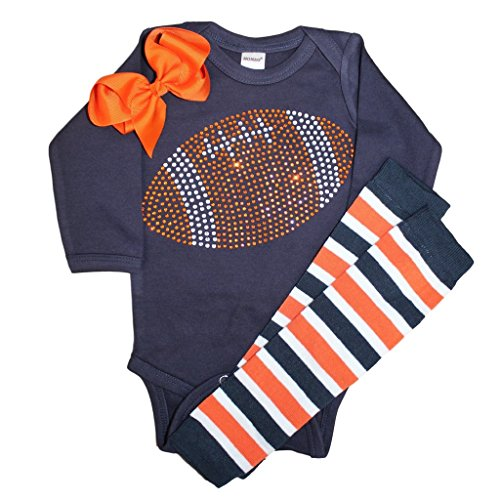 Baby Girl's Orange & Navy Team Colored Rhinestone Navy Football Orange Outfit 12-18mo ()