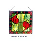 HF-40 9'' Tiffany Style Stained Glass Pastoral Luxury Square Window Hanging Glass Panel Sun Catcher