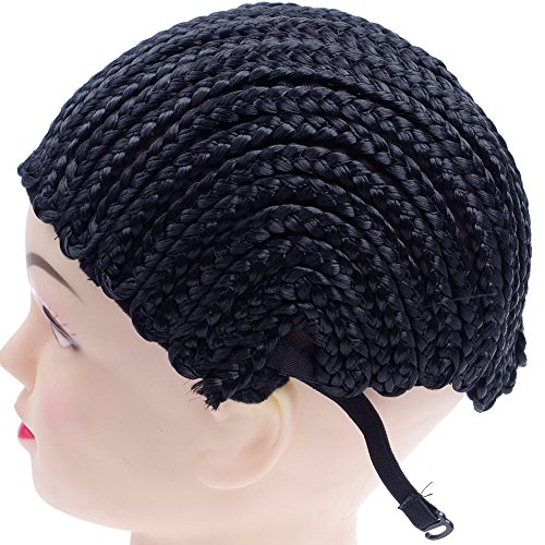 [Cornrow Wig Cap For Making Wigs Adjustable Black Color Crochet Braided Weaving Cap Lace Elasti Hairnet Hair Styling Tool Easier Sew In Braided Wig Cap With Invisible (1pcs,] (Cornrow Wigs)