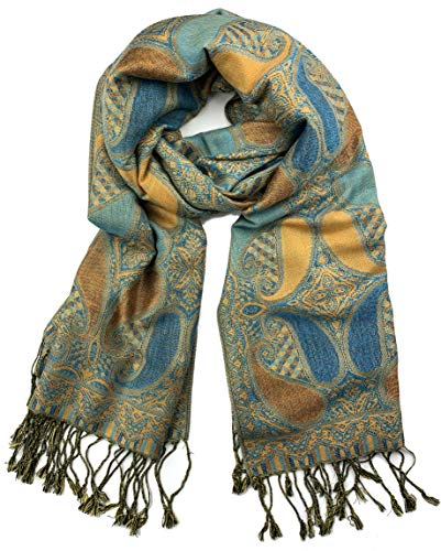 Bronze Feather Tapestry - Plum Feathers Tapestry Ethnic Paisley Pattern Pashmina Scarf (Turquoise Bronze Teardrop Paisley)
