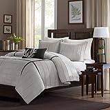 Home Essence Lancaster 4-Piece Comforter Set, Queen, Grey