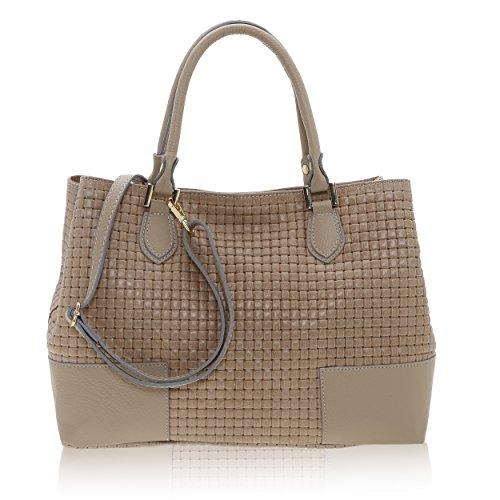 Stampa 27 Pelle A Fango Donna X Handbag Intreccio Vera Da In Italy Cm Realizzata Mano 14 Chicca Borse 37 Made Borsa 7Tq00t