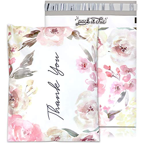 """Pack It Chic - 12"""" X 15.5"""" (100 Pack) Floral Flowers - Thank You Poly Mailer Envelope Plastic Custom Mailing & Shipping Bags - Self Seal (More Designs Available)"""