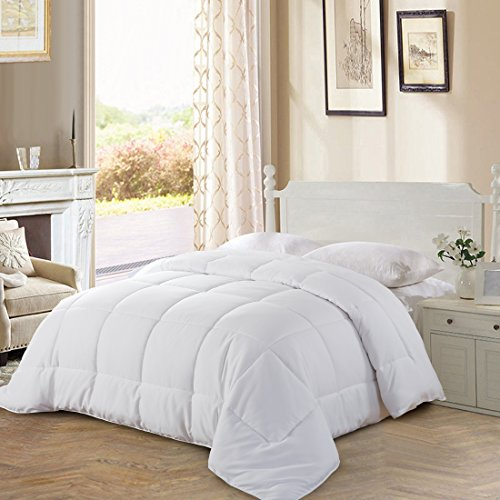 All Season Queen Goose affordable resolution Quilted Comforter utilizing Corner Tabs - Hypoallergenic -Double Plush Fabric -Super Microfiber Fill -Machine Washable - Duvet Insert & Stand-Alone Comforter - White