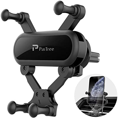 PaiTree Air Vent Phone Mount, Gravity Car Cell Phone Holder for Car, Auto Clamping Universal Phone Mount 360°Rotation Car Phone Cradle Mount for iPhone 11 Pro Max/Xs/XR/X/8, Galaxy Note 10/S10/S9 [5Bkhe2002650]