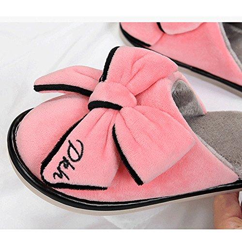 Btrada Donna Inverno Carino Bowknot Pantofole Accogliente Velluto Famiglia Coperta Antiscivolo Pantofole In Cotone Rosso