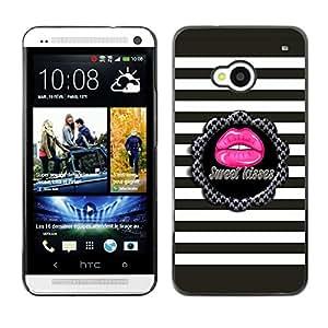 For HTC One M7 Case , Sweet Kiss Stripes Pattern Grey Pink - Diseño Patrón Teléfono Caso Cubierta Case Bumper Duro Protección Case Cover Funda