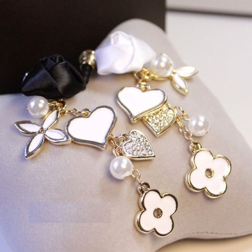 CJB Dust Plug / Earphone Jack Accessory Rose Heart Rhinestone White for iPhone 4 4s S4 5 All Device with 3.5mm Jack (US Seller)