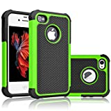 iPhone 4S Case, Tekcoo(TM) [Tmajor Series] iPhone 4 / 4S Case Shock Absorbing Hybrid Best Impact Defender Rugged Slim Grip Bumper Cover Shell w/ Plastic Outer & Rubber Silicone Inner [Green/Black]