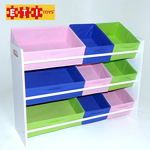 ETI Toys 9 Bins Organizer and Storage Shelves for Easy Sorting & Organizing. Kids Bedroom Furniture Shelf Chest Rack with Non-Toxic Fabric Toy Box Containers for Boys & Girls Room. (Toddler Bookcase Espresso compare prices)