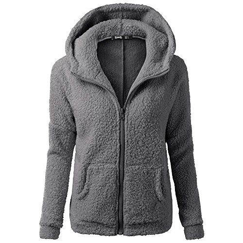 HGWXX7 Women's Hoodie Solid Winter Warm Plus Size Cotton Zipper Coat Tops Blouse Sweatshirt Outwear(3XL,Dark Gray) from HGWXX7