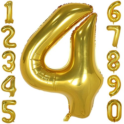 40 inch Big Number Balloons Gold Mylar Foil Large Number 4 Giant Helium Balloon Birthday Party Decoration