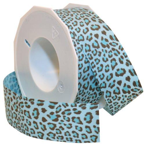 Light Blue Leopard - Morex Ribbon Leopard Grosgrain Ribbon, 1-1/2-Inch by 20-Yard, Light Blue