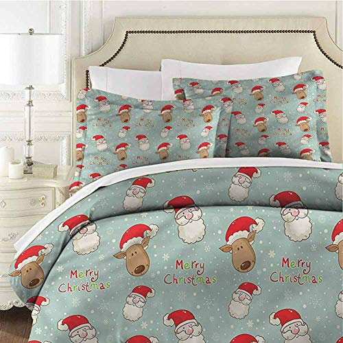 Christmas Bedding Set Santa Deer Vintage Full (80x90 inches) - 3 Pieces (1 Duvet Cover + 2 Pillow Shams) - with Zipper Closure Ultra