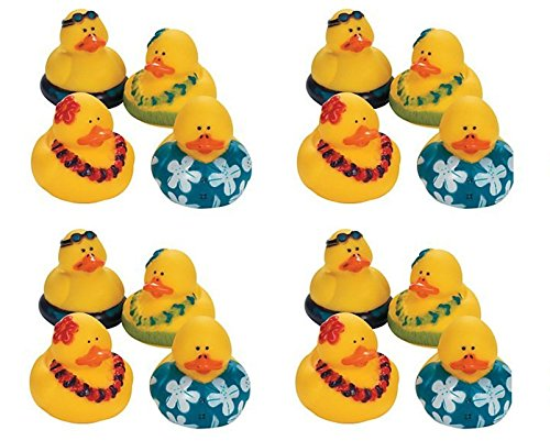 Pack Of 16 Hawaiian Luau Rubber Ducks - Party Favor Duckies - Gifts