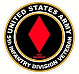 1 Pcs Notable Fashionable US Army Veteran 5th Infantry Division Red Diamond Stickers Signs Decor Windows Indoor Size 4.5