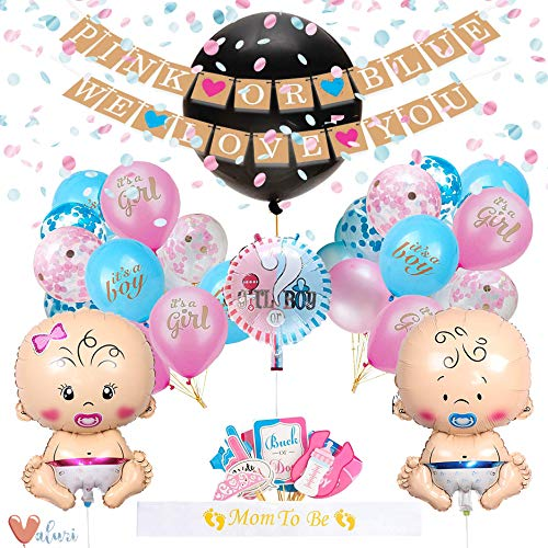 [55 Piece] Gender Reveal Party Supplies Kit For Baby Boy Or Girl · Gender Reveal Decorations Include Jumbo Confetti Balloon, pink/blue and champagne gold confetti, assorted pink and blue balloons (including 2 baby shaped balloons!), photobooth props, sash and banner. -