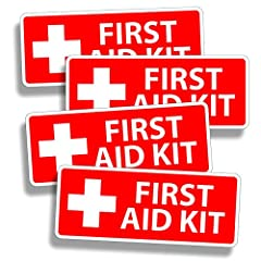 You are getting 4 (FOUR) RED First Aid STICKERS / DECALS for YOUR DIY Emergency kit or Box. This is for FOUR stickers ONLY.... NO first aid kit will come with these 4 stickers. They are 1.5 inches tall x 4 inches wide. They are printed on 3M ...