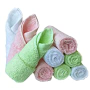 Baby Washcloths Natural Organic Bamboo Baby Face Towels - Reusable and Extra Soft Newborn Baby Bath Washcloths - Suitable for Sensitive Skin Baby Registry as Shower Gift Set 9 Pack 10x10 inches Feibi