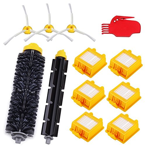 Aqua Green Replacement Parts Kit For Irobot Roomba 700, 760, 770, 780, 790 Vacuum Cleaner Includes 6 Hepa Filters & 3 Side Brush & 1 Bristle Brush and Flexible Beater Brush,Cleaning Tool