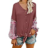 WuyiMC Clearance Womens V Neck Button Down Tie Knot Front Henley Shirt Patchwork Cardigan Blouse (L, Wine Red)