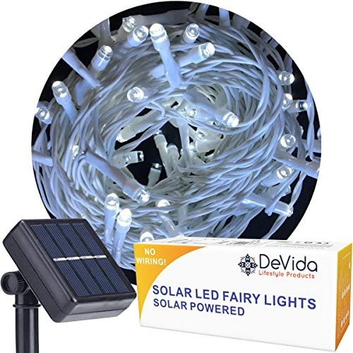 DeVida Cool White Solar String Light on White Cord, 100 LED Outdoor Waterproof Set for Decorative Wedding Arch, Picket Fence, Wall, Tree, Patio, Easy Install Cool White on White Wire