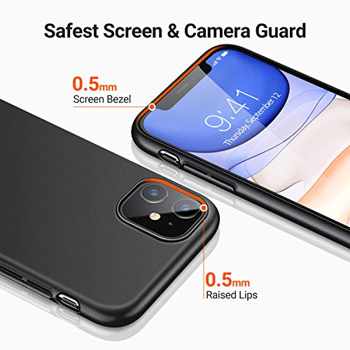 TORRAS Ultra Thin Slim iPhone 11 Case Cover with [Tempered Glass Screen Protector], Fully Protective Hard Matt Shockproof Phone Cases for iPhone 11 6.1