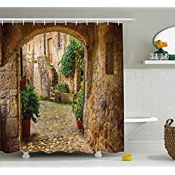 Scenery Decor Shower Curtain by Ambesonne, Landscape from another Door Antique Stone Village Tuscany Italian Valley, Fabric Bathroom Decor Set with Hooks, 70 Inches, Multicolor