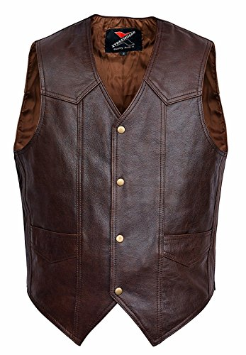 Men Motorcycle Leather Vest Classic Western Style Brown V118 (Brown Leather Motorcycle Vest)