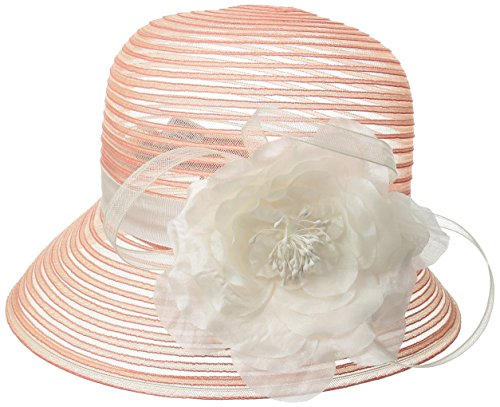 (SCALA Women's Cloche Hat with Flower, Coral, One Size )