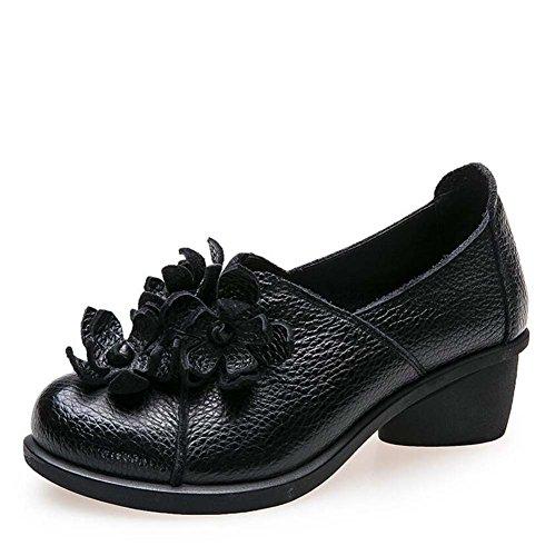 Deslizamiento del loafer de la bomba en el moccasin de los bailarines los zapatos de vestido de los zapatos ocasionales de los zapatos ocasionales del viento nacional de la borla de la flor de la borl Black