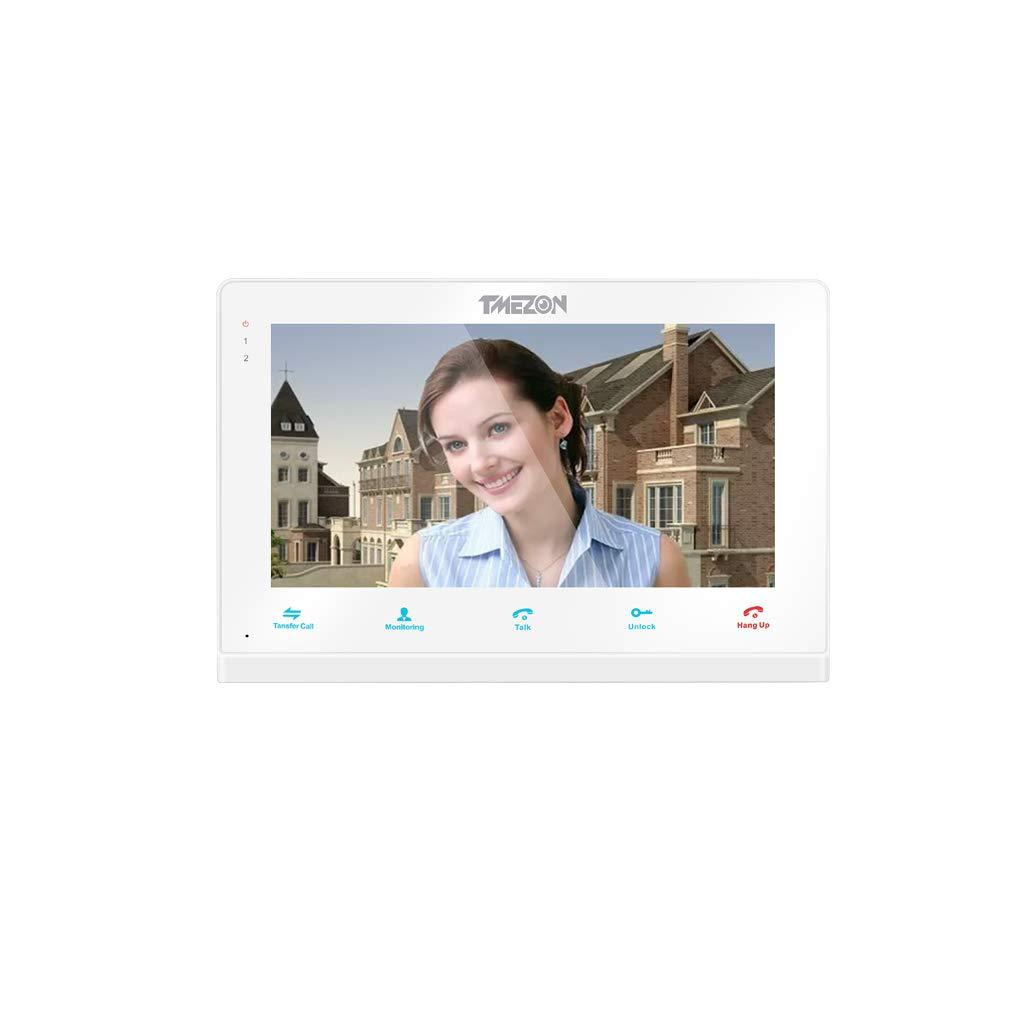 TMEZON WLAN Video Tü rsprechanlage Tü rklingel Gegensprechanlage System,7 Zoll WLAN Monitor mit 2X Verdrahteter Kamera im Freien Fü r 1-Familienhaus, Fernbedienung Tü rö ffner und App MZ-IP-V739W/1M2C/EU