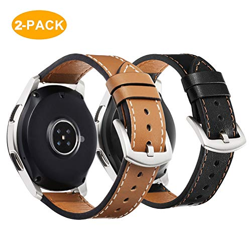 for Samsung Galaxy Watch 46mm Bands - 2 Pack 22mm Premium Genuine Leather Straps with Stainless Steel Buckle for Gear S3 Frontier/Classic, Brown + Black ()