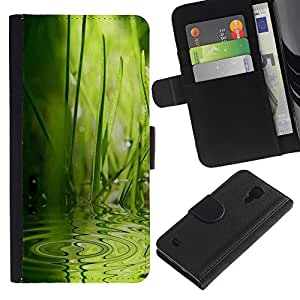 UberTech / Samsung Galaxy S4 IV I9500 / Ripple Wave Water Rain Nature Green / Cuero PU Delgado caso Billetera cubierta Shell Armor Funda Case Cover Wallet Credit Card