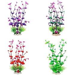Vansee❤❤Aquarium Plants Plastic Fish Plant Artificial Colorful Decoration Safe 4 PCS