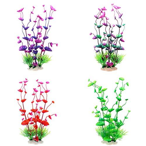 - Fan-Ling 4 PCS Artificial Colorful Plastic Plants Decoration,Aquarium Fish Tank Safe Landscaping Ornament,Vivid Simulation Landscape