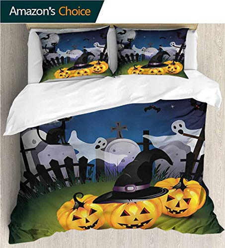 3 Piece Quilt Coverlet Bedspread,Box Stitched,Soft,Breathable,Hypoallergenic,Fade Resistant All Season Lightweight Colorblock Kids Bedding Set-Halloween Pumpkins Witches Hat Moon (79