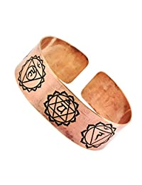 Tibetan Buddhist Om Mantra Yoga Meditation 7 Chakra Copper Healing Cuff Wrist Bracelet for Men Women