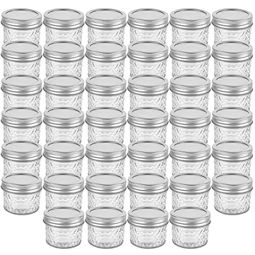 Silver Jars - 40 Pack 4oz 120 ml Glass Mason jars With Silver Regular Lids, Perfect for Jam, Honey, Candies,Wedding Favors, Decorations, Baby Foods, DIY Magnetic Spice Jars.(40 Labels Included)