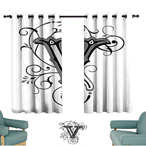 HCCJLCKS Kids Room Curtains Letter V Gothic Halloween Style Uppercase V with Curved Lines Ivy Stripes Calligraphy Set of Two Panels W63 xL45 Black Grey White