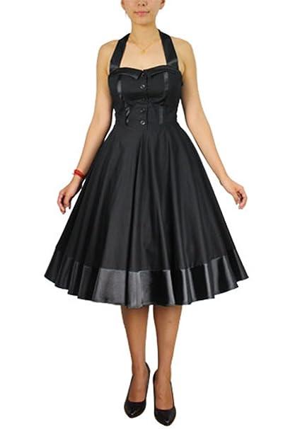 Plus Size Black Tie Back Retro 50\'s Rockabilly Gothic Swing ...