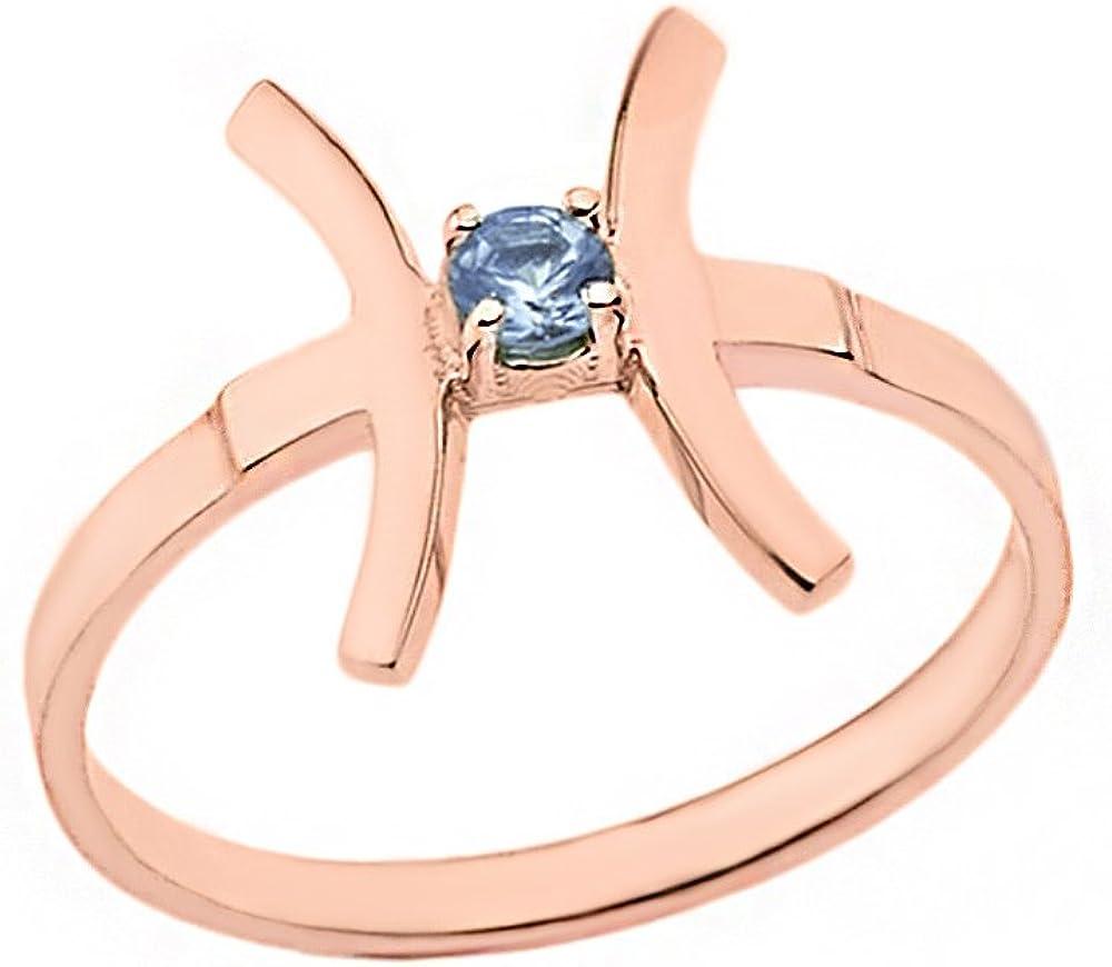 CaliRoseJewelry Rose Gold 10k Pisces Zodiac Horoscope Rope Ring